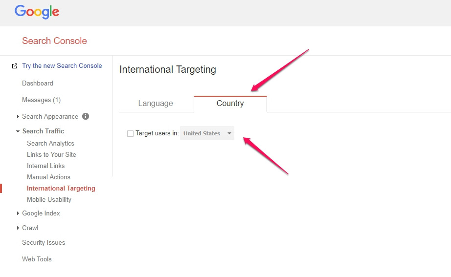 google search console country to target